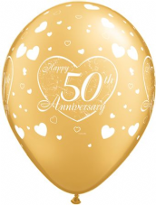 Happy 50th Anniversary Hearts Gold Balloons